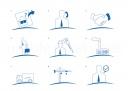 Ensemble d'icônes pour le déroulement de la commande d'une livreur de fenêtres