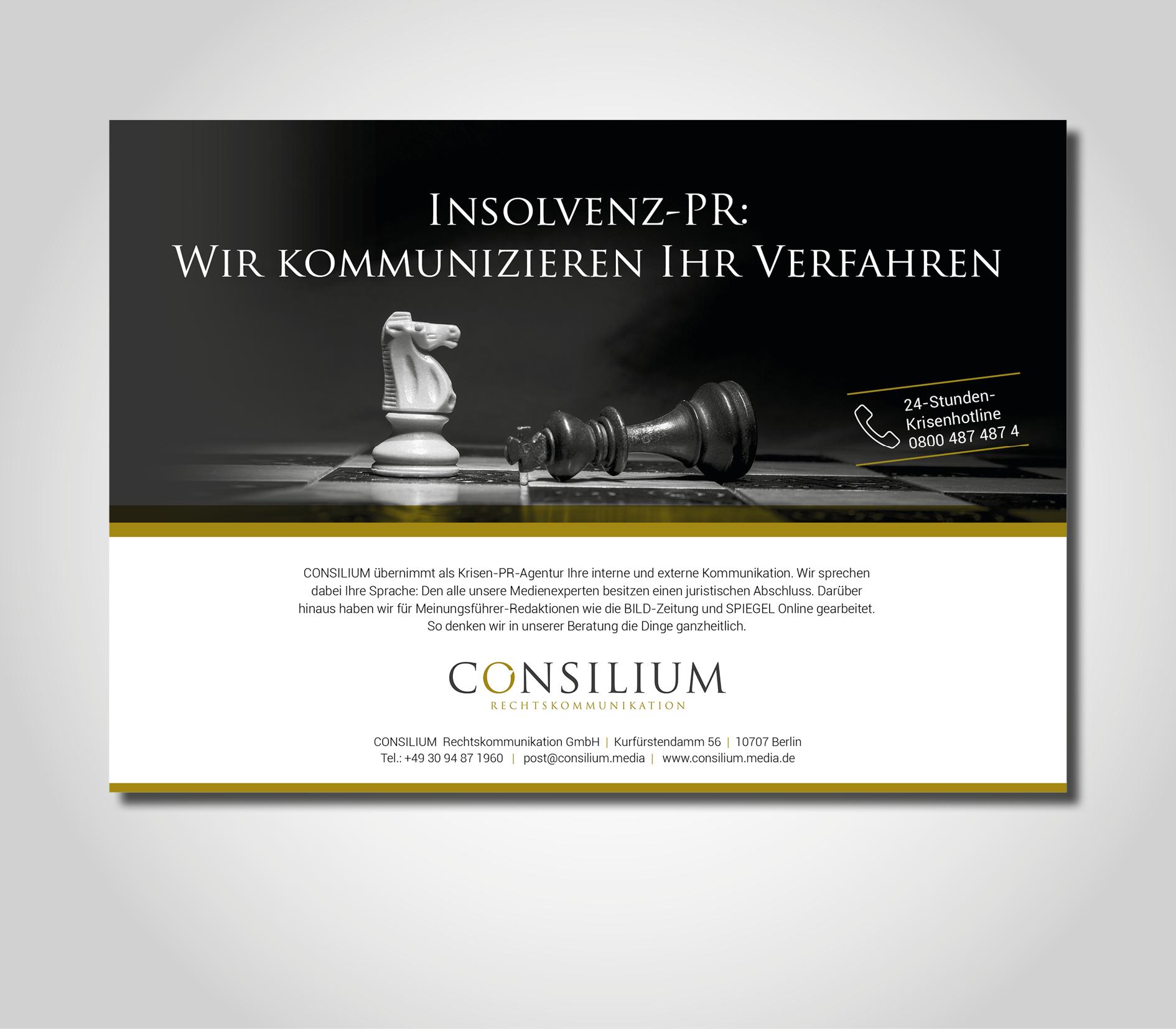 Anzeigengestaltung für Darstellung der Zentralaussagen einer PR-Agentur