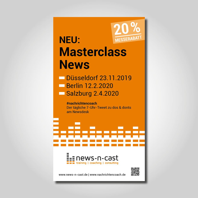 Anzeigengestaltung für Trainings und Coachings für Nachrichten-Sprecher und Redakteure im (privaten) Radio