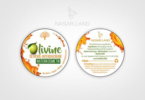 Etiketten für Olivenöl-Intensivcreme