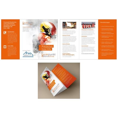 Flyer-Design für Dienstleistungen im vorbeugenden Brandschutz und der Ersten Hilfe