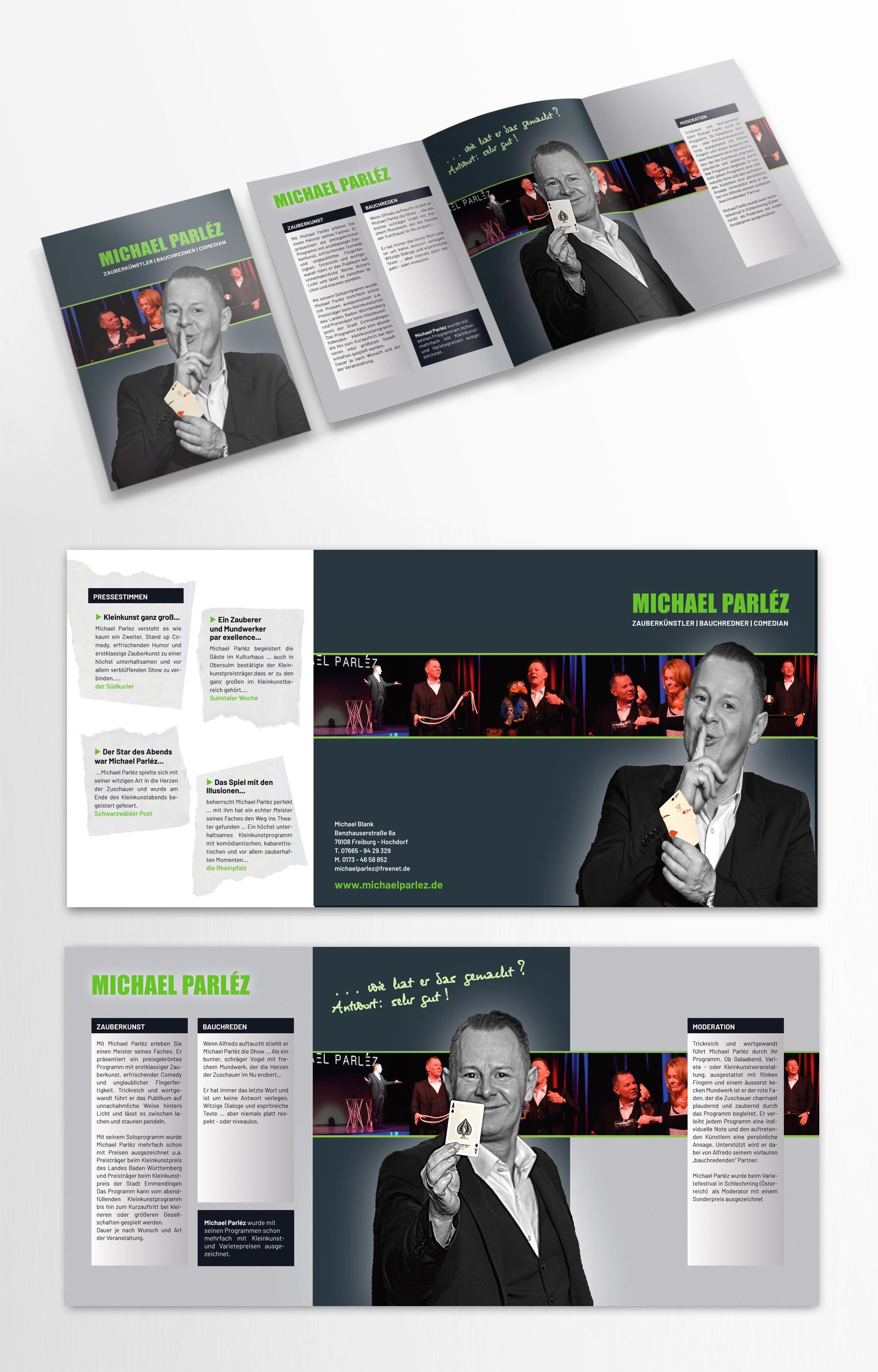 Flyer-Design für professionellen Zauberkünstler, Bauchredner & Comedian