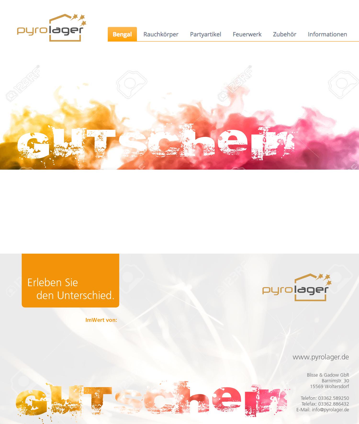 Gutschein-Design Pyro Webshop » Gutschein-Design