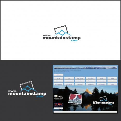 Logo-Design für Website über Berge auf Briefmarken