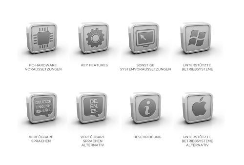 Iconerstellung (7 Stück) für Software-Produkt-Beschreibung