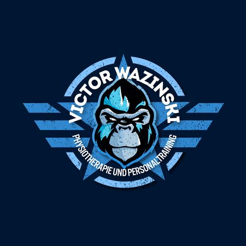 Logo-Design mit Gorilla Maskottchen für Physiotherapie & Personaltraining