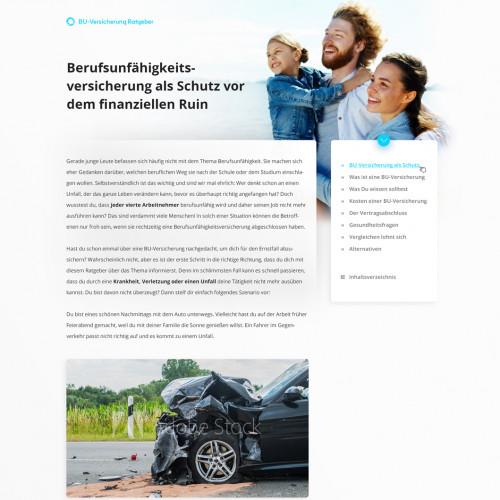 Webdesign für Informationsseite zum Thema Berufsunfähigkeitsversicherung