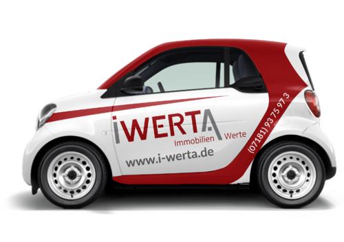 Fahrzeugbeklebung | Smart Fortwo | Baujahr 2019 | Wagenfarbe Weiss | Immobilienmakler
