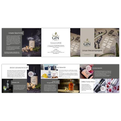 Flyer-Design für Herstellung von Premium GIN und Mixgetränken