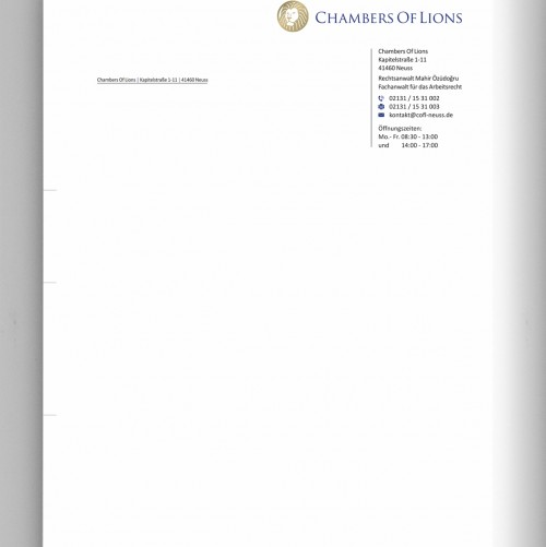 Briefkopf und Visitenkarte für Kanzlei
