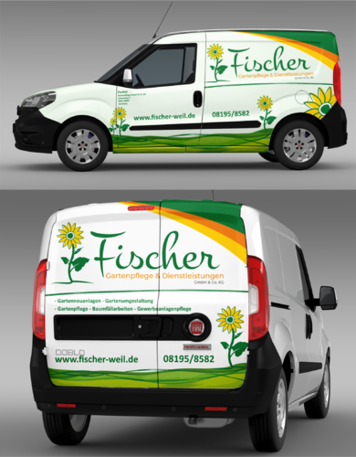 Fahrzeugbeschriftung für  Gartenbau/-pflege