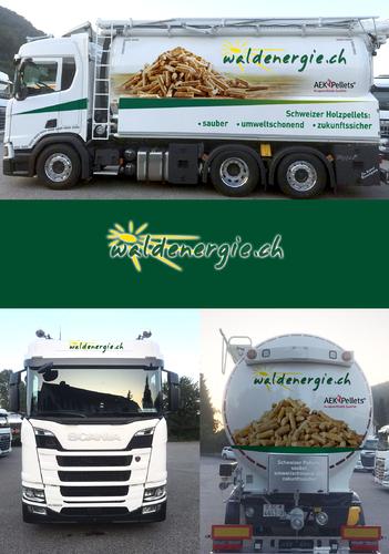 Fahrzeugbeschriftung für Transportfahrzeug von Holzpellets