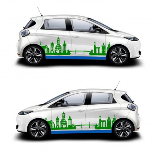 Fahrzeugbeschriftung für Elektroauto Renauld