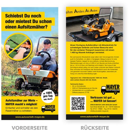 Flyer-Design für Vermietung von Fahrzeugen