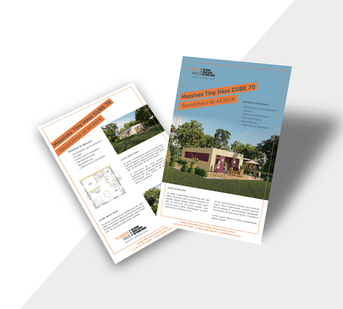 Flyer-Design für massive Tiny-Häuser eines Hausherstellers