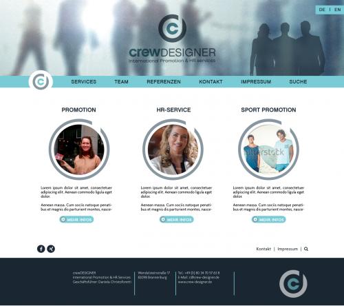 Einfache Webside für kleine Promotion- und Personalagentur