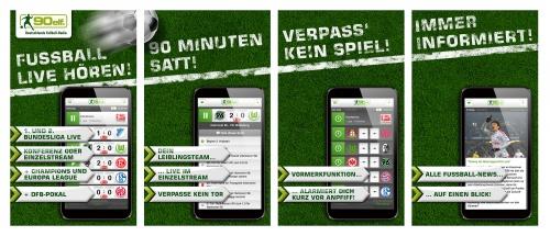 Werbebanner für App-Stores (90elf-App)