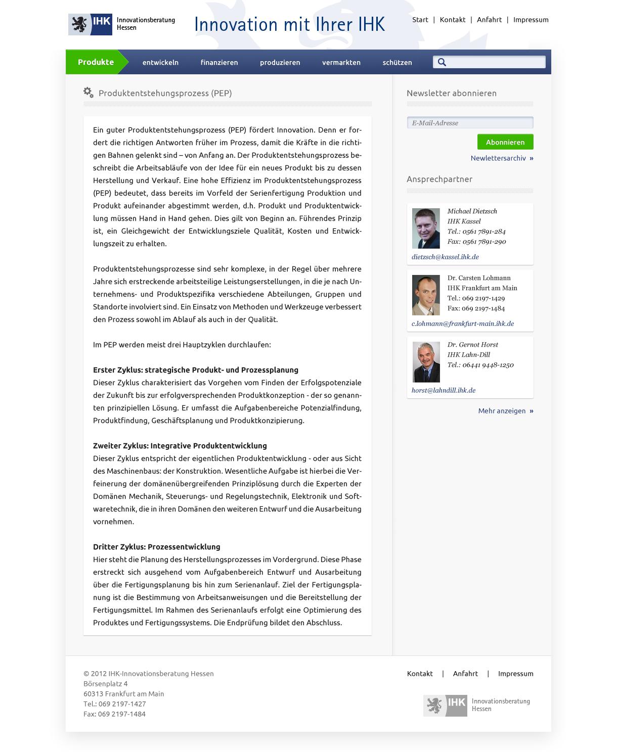 Webdesign für IHK-Innovationsberatung Hessen