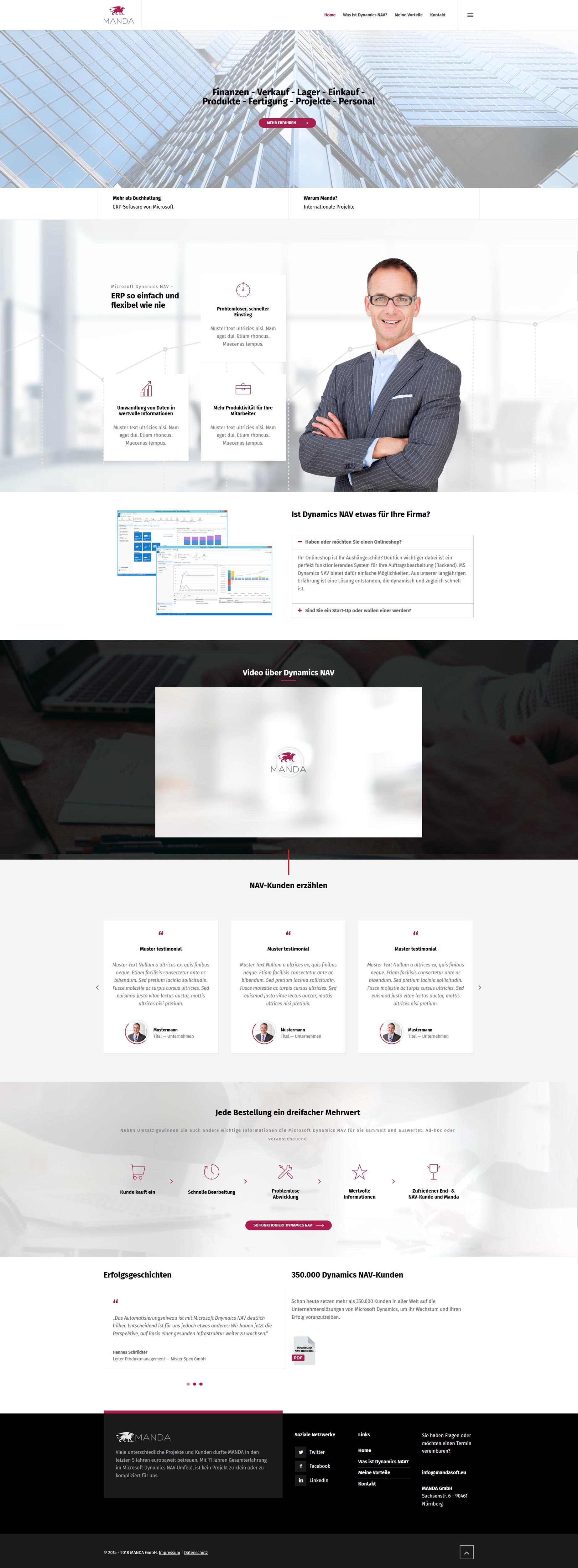 Webdesign für Vertrieb und Verkauf von Microsoft Produkten im Firmenbereich