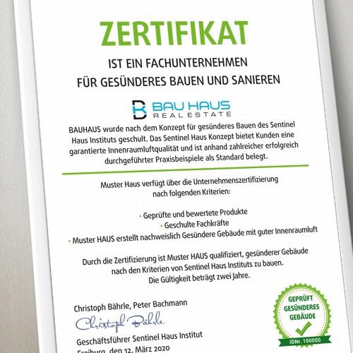 Zertifikat für gesündere Gebäude
