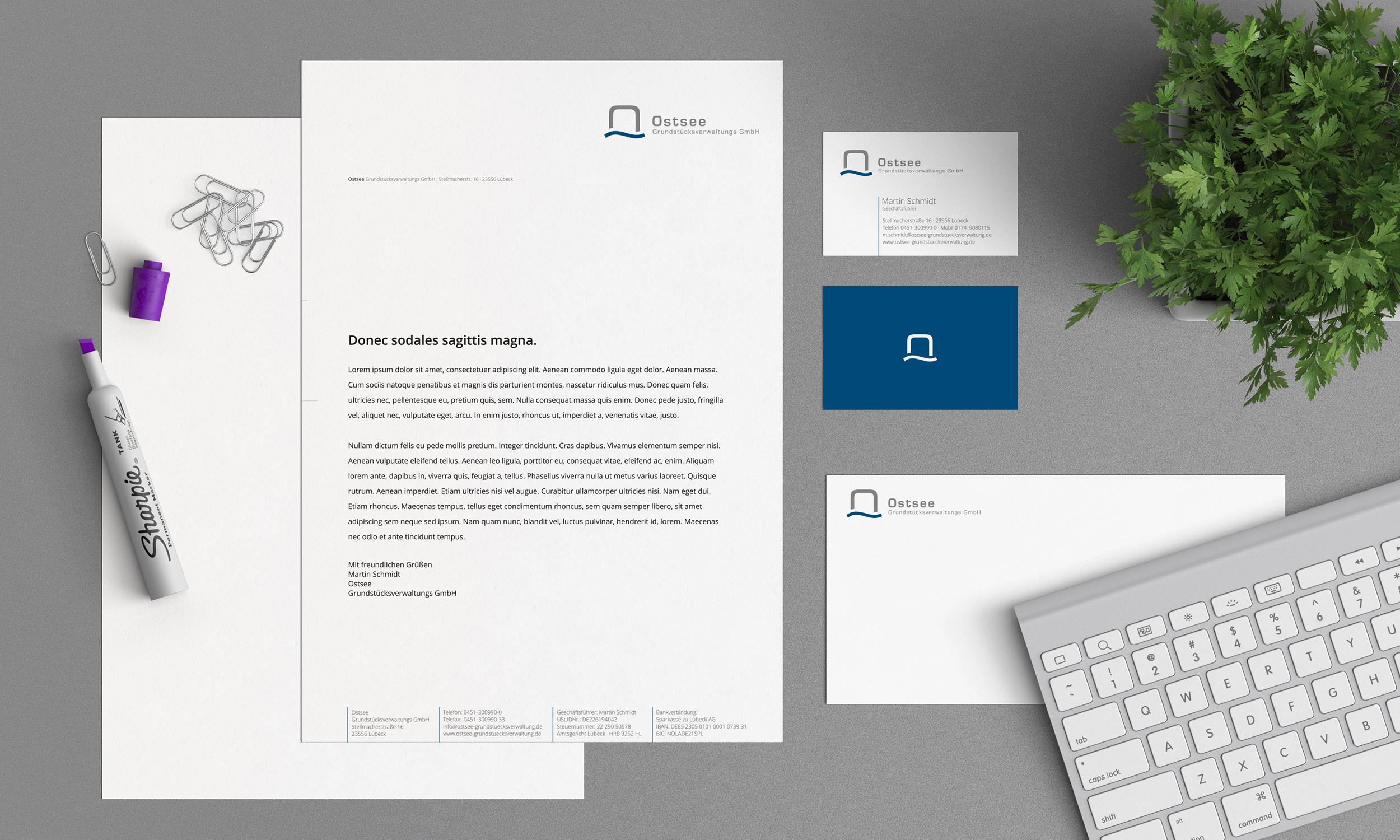 Briefbogen Und Visitenkarte Für Grundstücksverwa