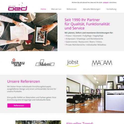 Webdesign für Objekteinrichtungsdesign