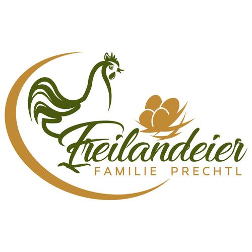 Logo-Design für Hühnerhaltung mit dem Symbol einer Henne und einem Ei