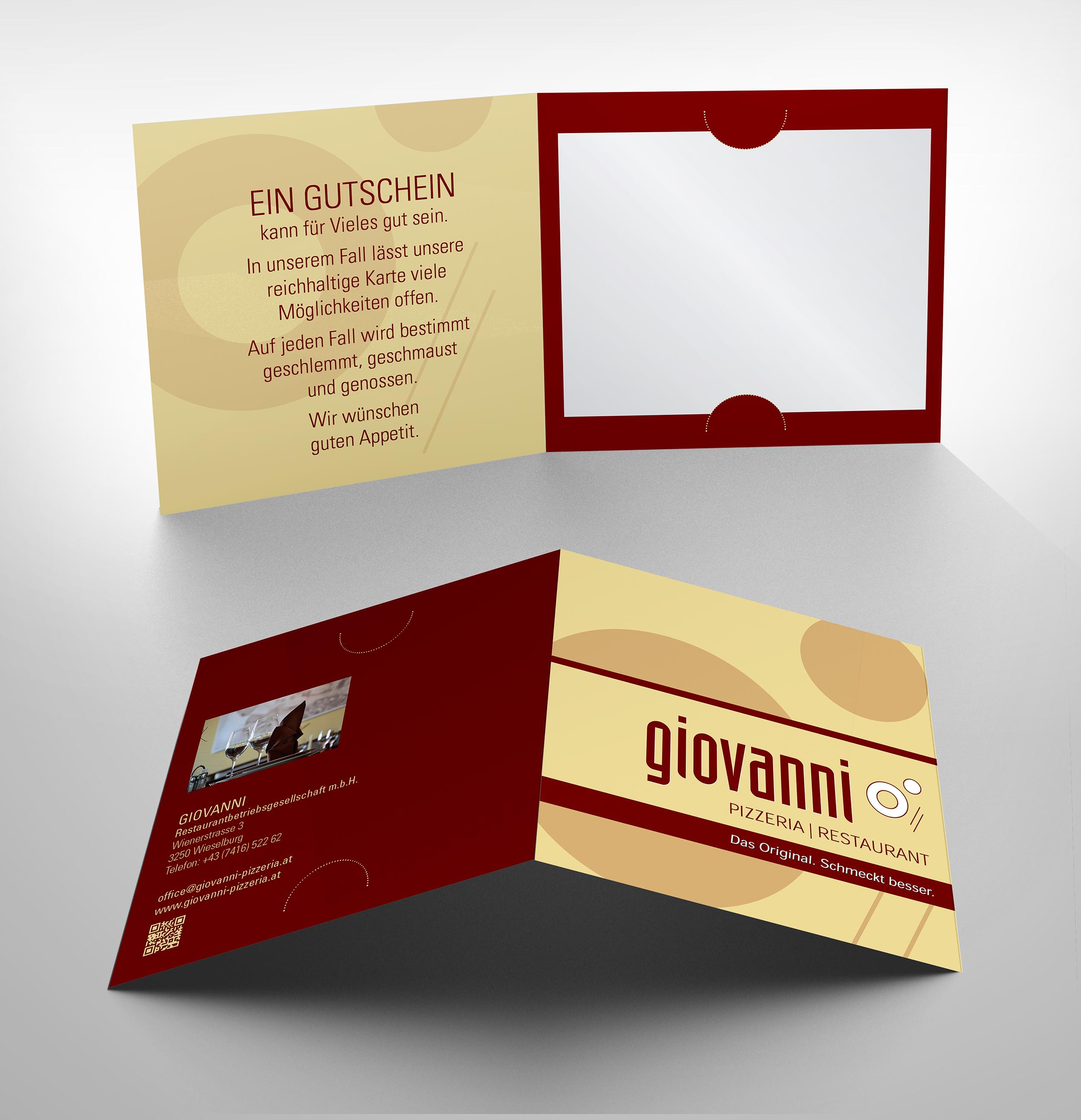 Gutschein-Design Für Giovanni Restaurant » Gutschein