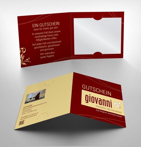Gutschein-Design für das Restaurant Giovanni