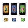 Application mobile: icône de démarage, graphiques d'arrière-plan et objets 2D