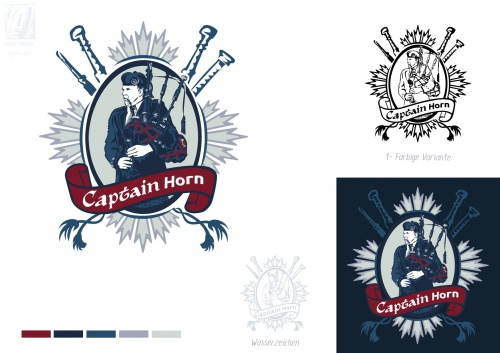 Logo-Design für Captain Horn der Dudelsackspieler Captain Horn Folkdesigner