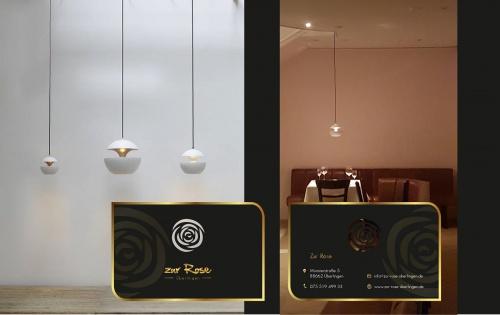 Visitenkarten-Design für Hotel und Restaurant in der Fußgängerzone