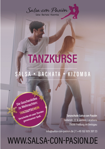 Plakat-Design für Tanzkurse in Salsa, Bachata, Kizomba & Zouk